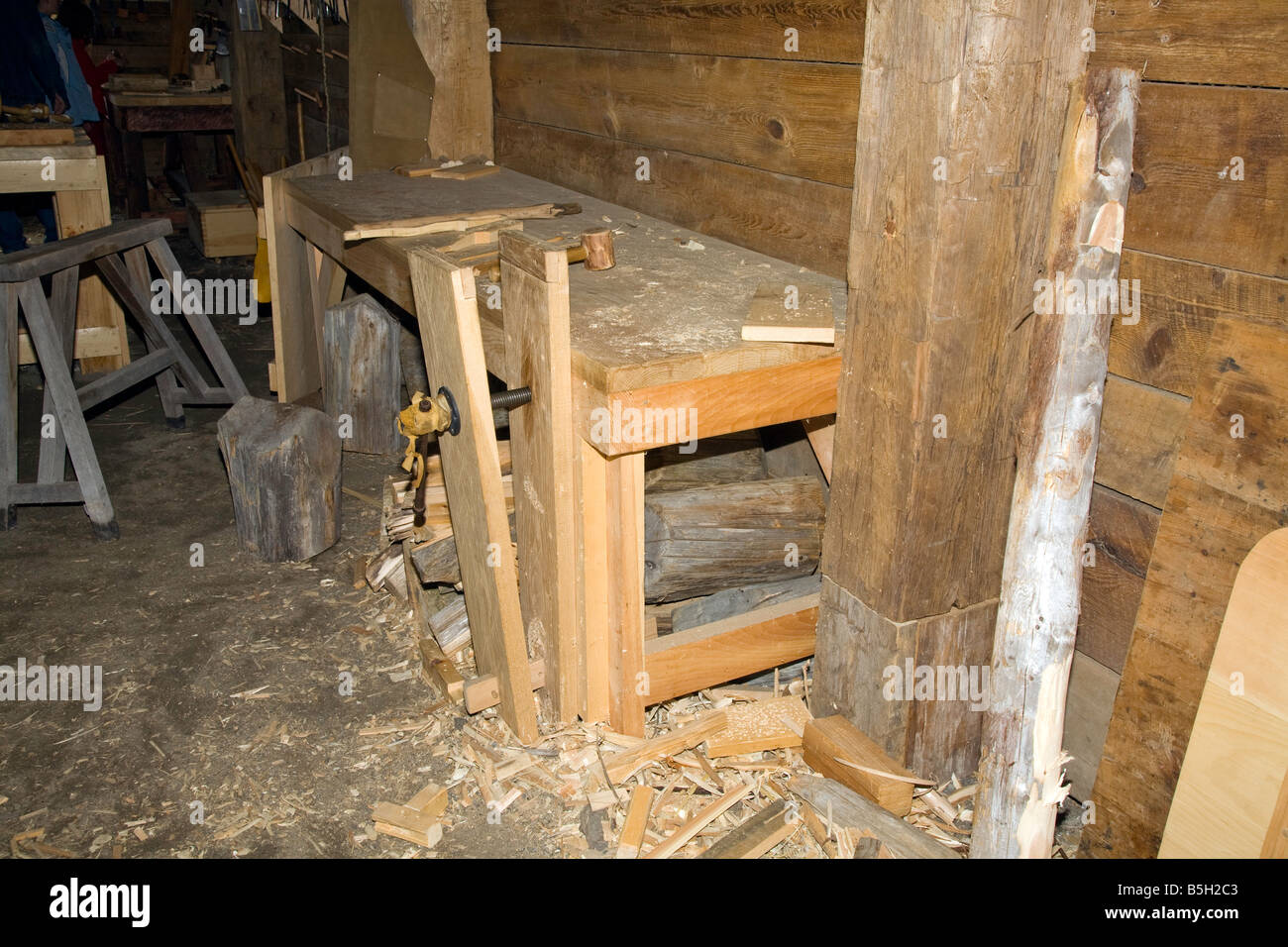 Early wood working bench as seen at Huron Indian Native American Aboriginal Village in Midland,Ontario,Canada - Stock Image