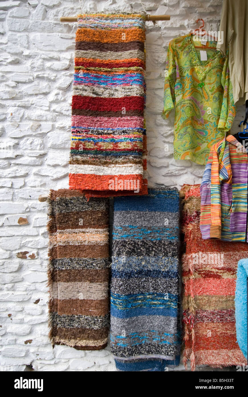 Detail of locally hand made carpets and rugs for sale in Pampaneira village in Sierra Nevada Southern Spain - Stock Image