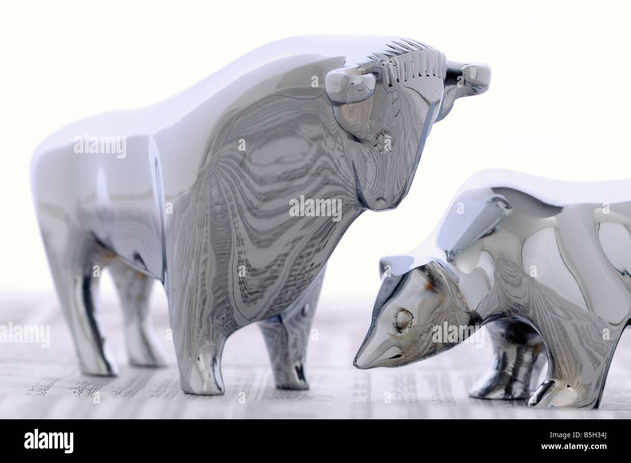 bull and bear, symbol for the stock market - Stock Image