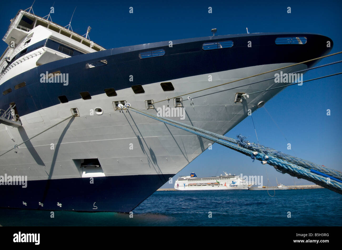 The Cruise ship Celebrity Galaxy, originally MV Galaxy, docks in the harbour in Rhodes Greece. - Stock Image