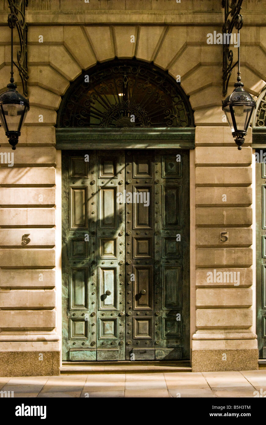 Entrance and doors in London city building. - Stock Image