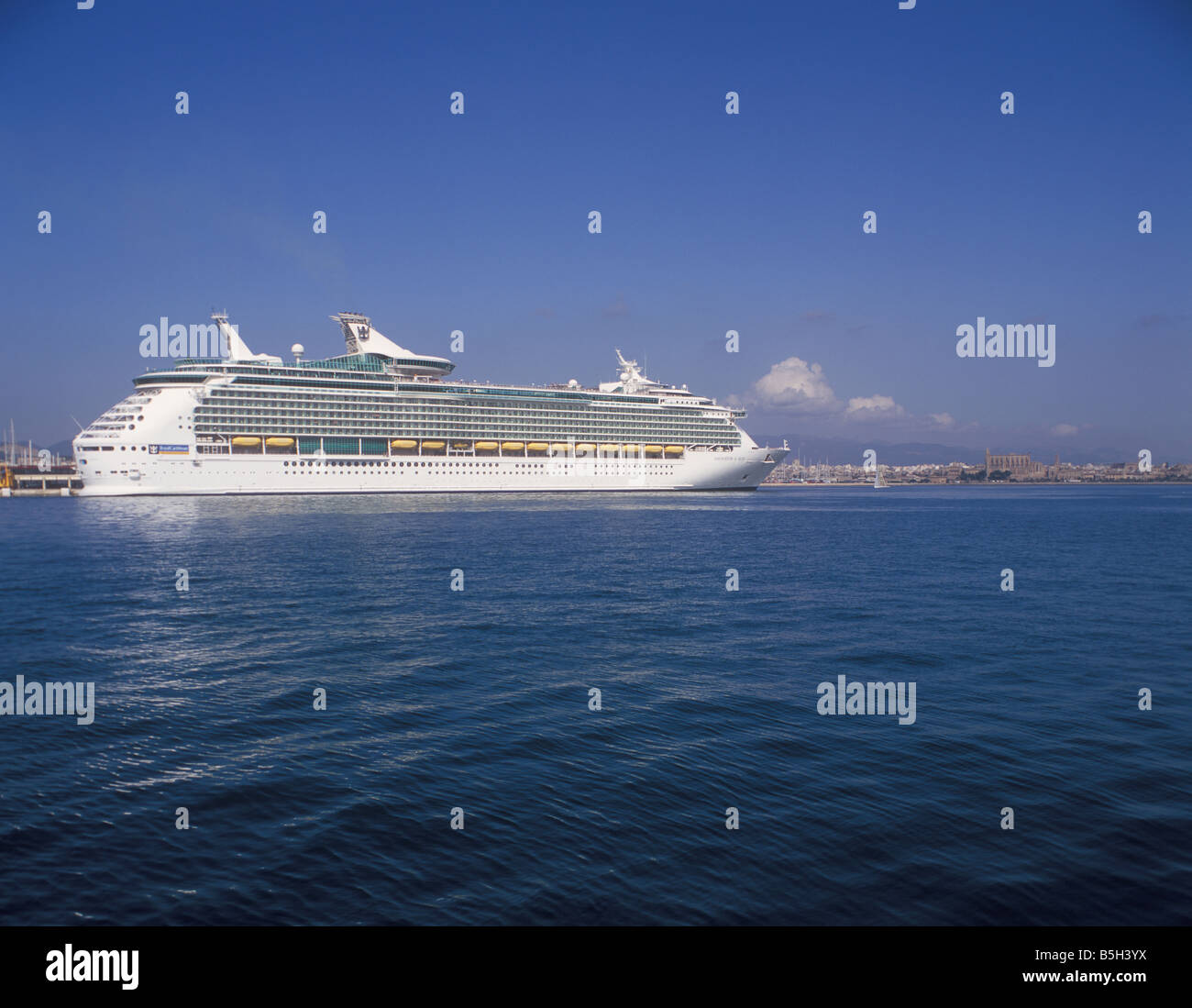 "Royal Caribbean International Cruise Ship ""Navigator of the Seas"" ( 311 meters ) in the Port of Palma de Mallorca. Stock Photo"