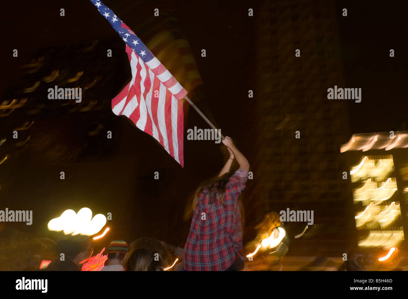 Young voters celebrate Obama Victory in Union Square - Stock Image