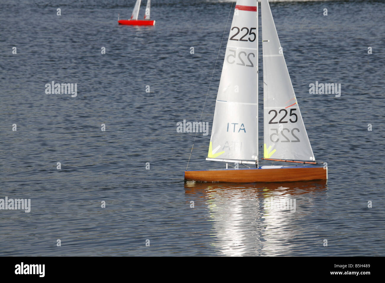 Fast Remote Control Toy Yachts Boats On Lake Italy Stock