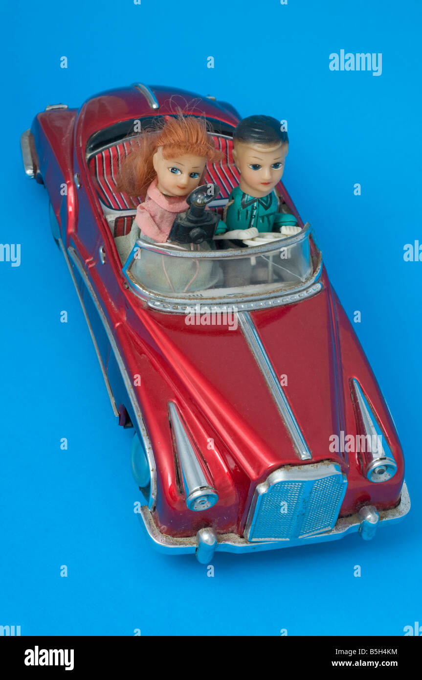 Pressed metal toy battery powered car - Stock Image