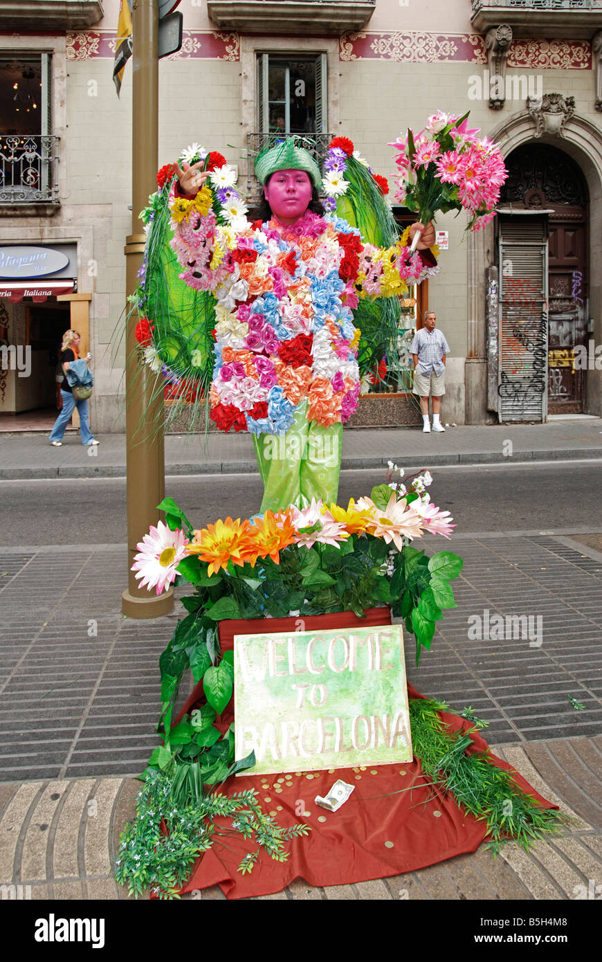 a human statue street performer on la ramble in barcelona,spain - Stock Image