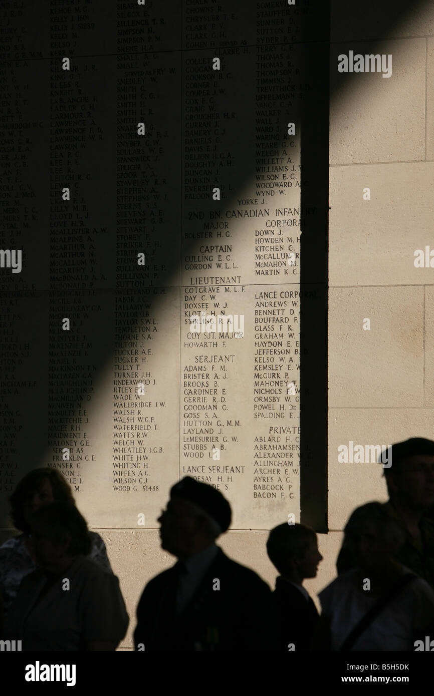 Names of the missing on the walls of the Menin Gate, Ypres. - Stock Image