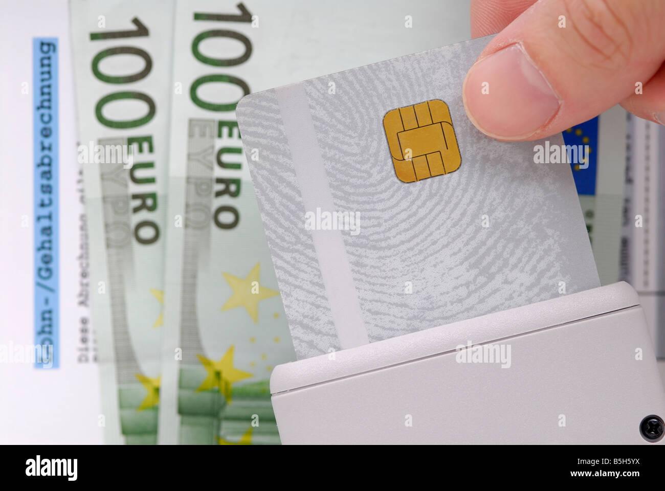 Elena, chip card and bank notes Stock Photo