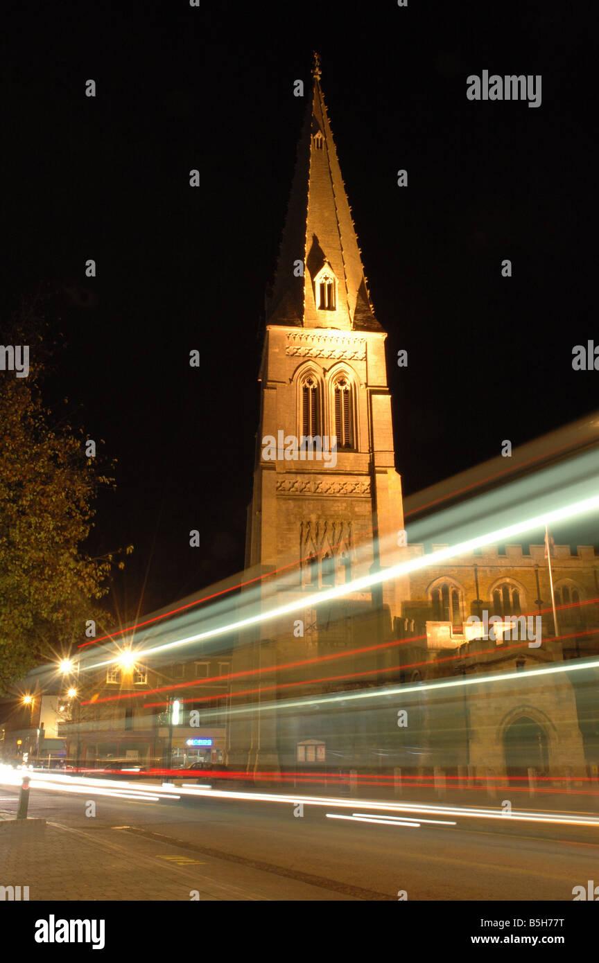 traffic trails, Market Harborough, Leicestershire, England, UK - Stock Image