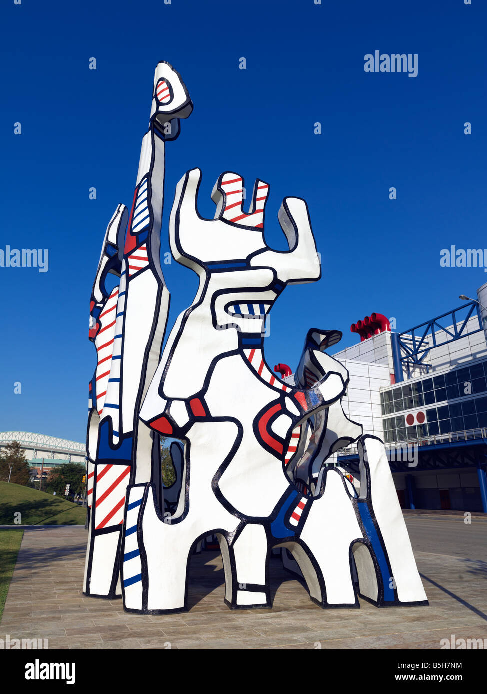 USA,Texas,Houston,sculpture of Monument au Fantome by Jean Dubuffet in Discovery Park - Stock Image