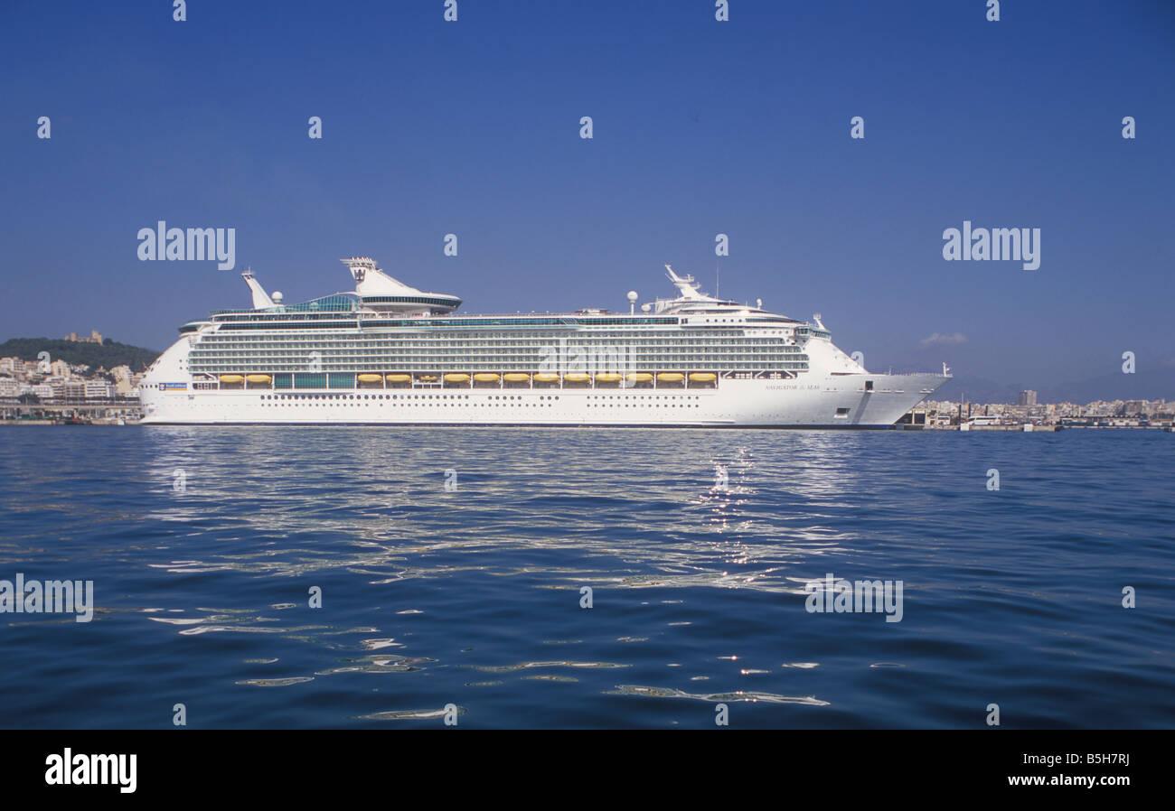 "Royal Caribbean International Cruise Ship ""Navigator of the Seas"" ( 311 meters ) in the Port of Palma de Mallorca. Stock Photo"