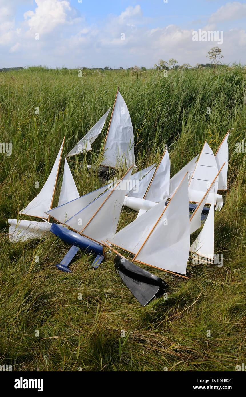 Model sailing boats - Stock Image