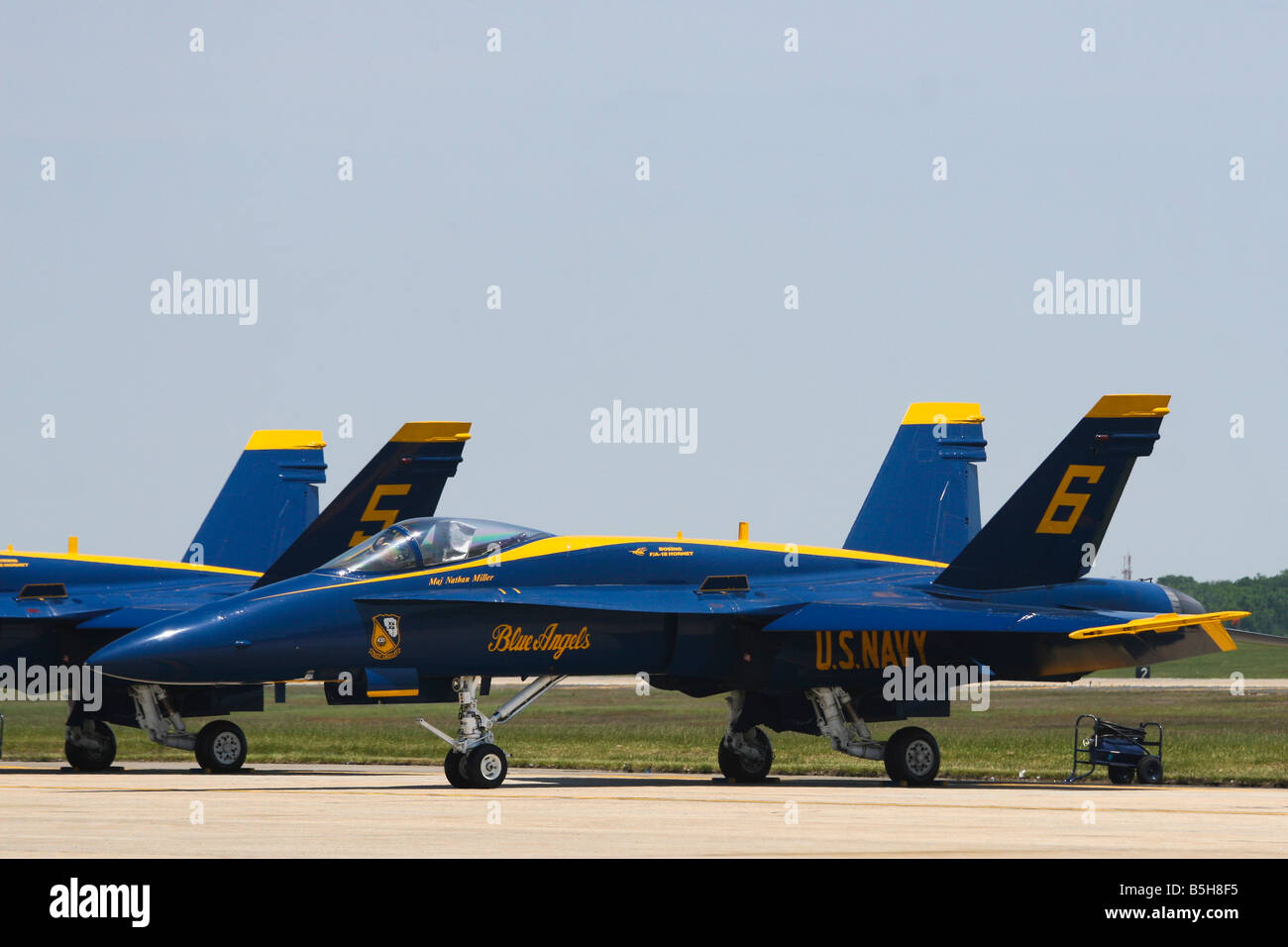 The elite U.S. Navy Blue Angels prepare for an afternoon of aerobatics at the 2008 Joint Service Air Show in Maryland. - Stock Image