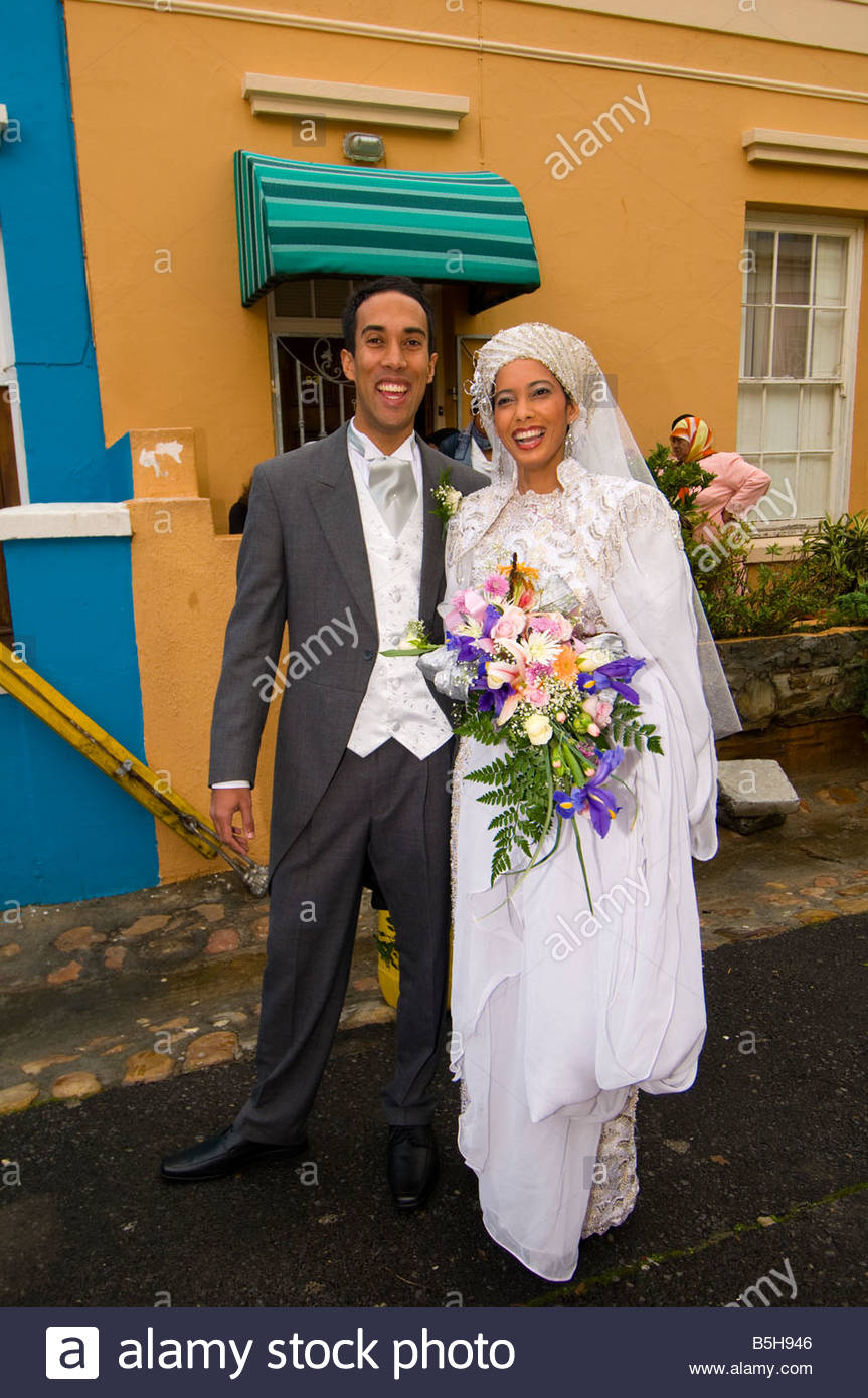 A Muslim wedding on Waalstraat in Bakaap section Muslim Quarter Cape Town South Africa - Stock Image