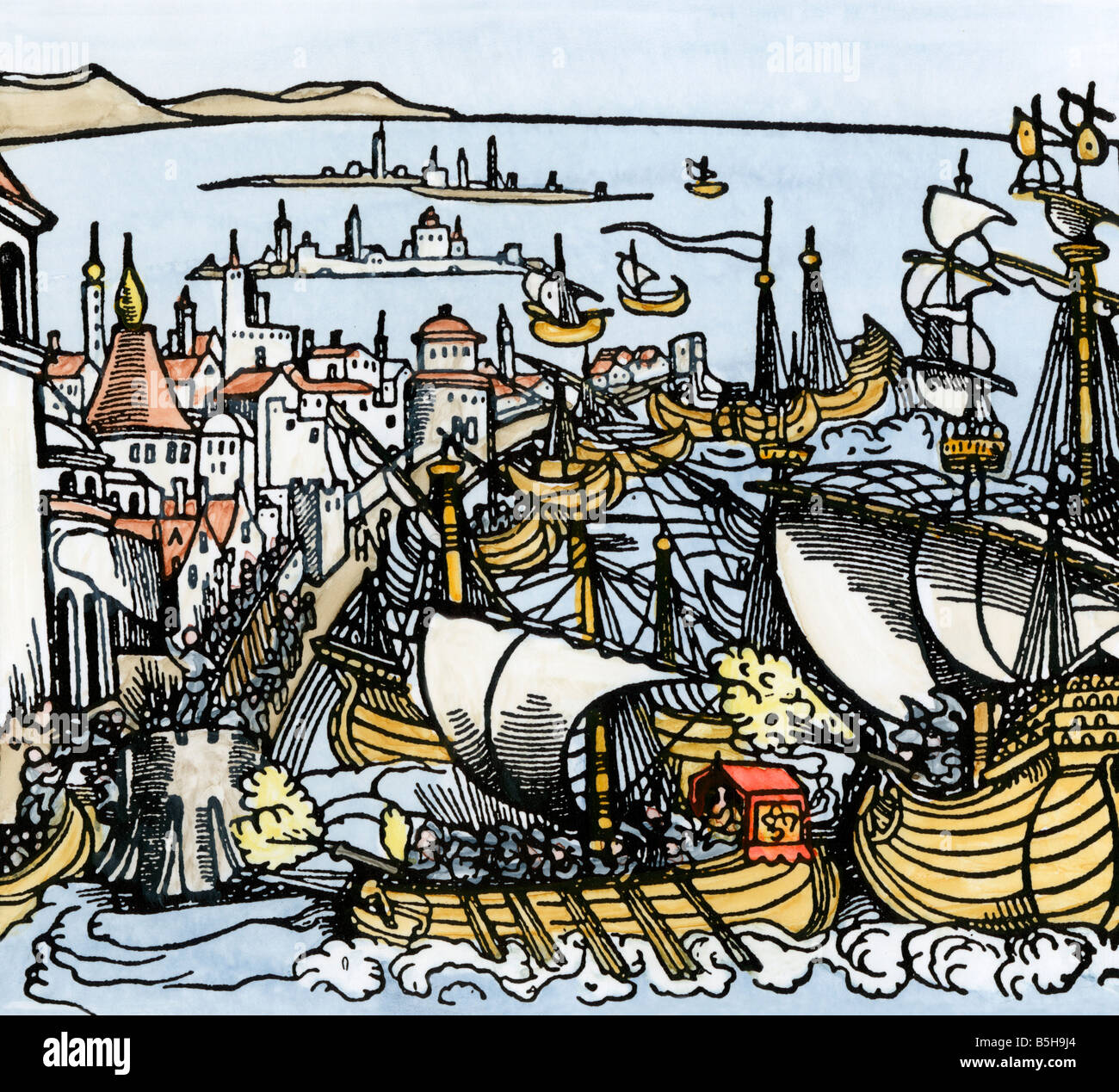 Emperor Charles V attempts to capture Algiers, home of the Barbary Pirates, 1541. Hand-colored woodcut - Stock Image