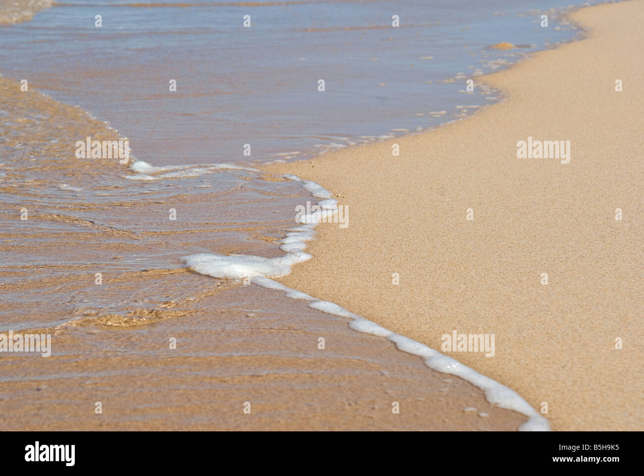 great image of a gentle peaceful wave on the beach - Stock Image