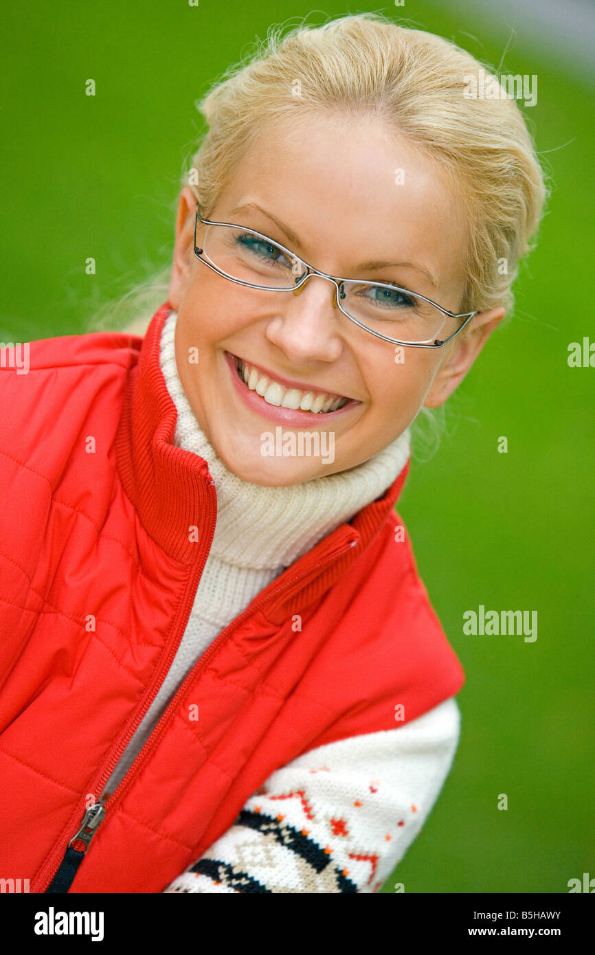Blonde Frau im Herbst, blonde woman in autumn Stock Photo