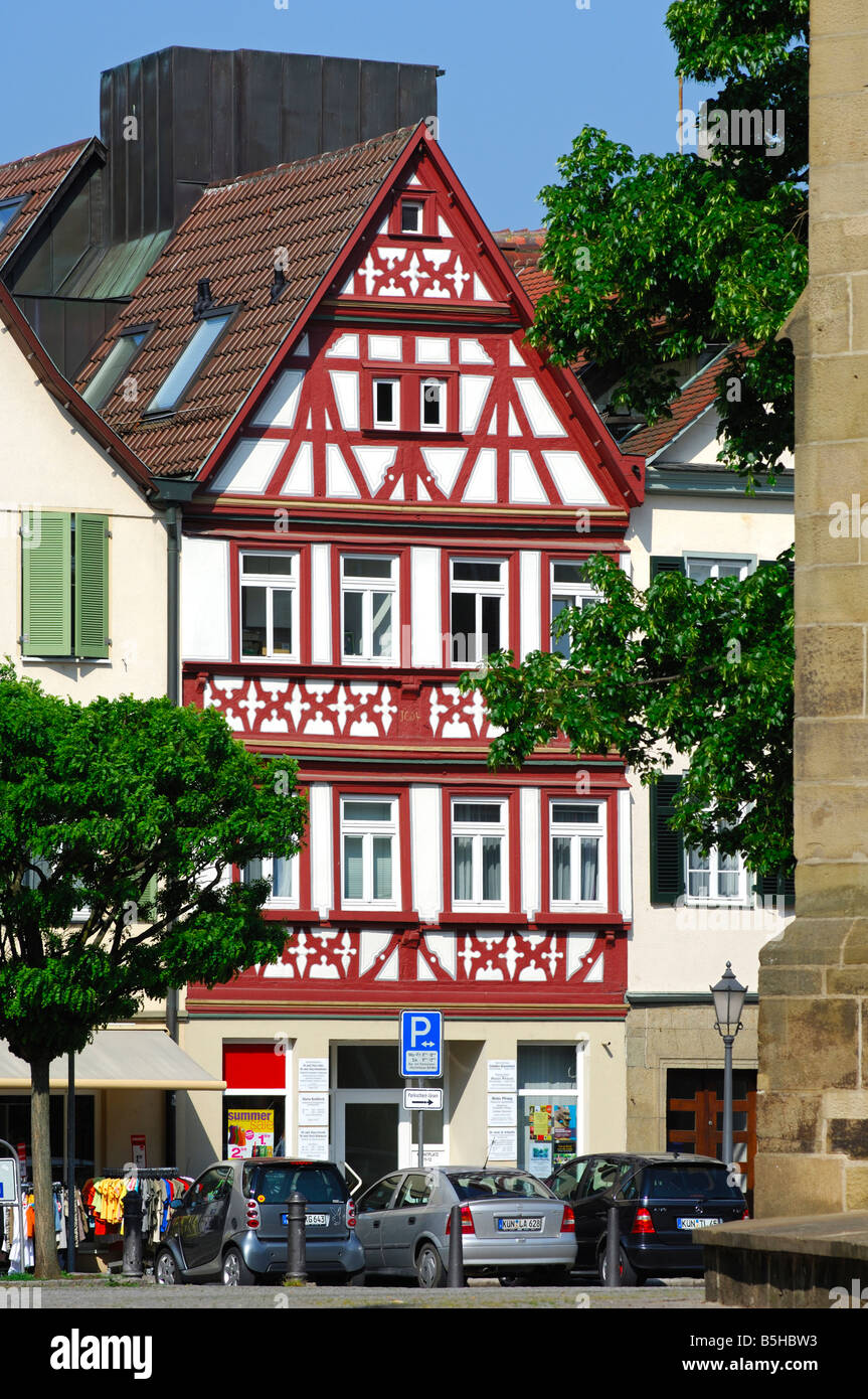Half timbered building at the market square, Oehringen, Baden Wuerttemberg, Germany - Stock Image