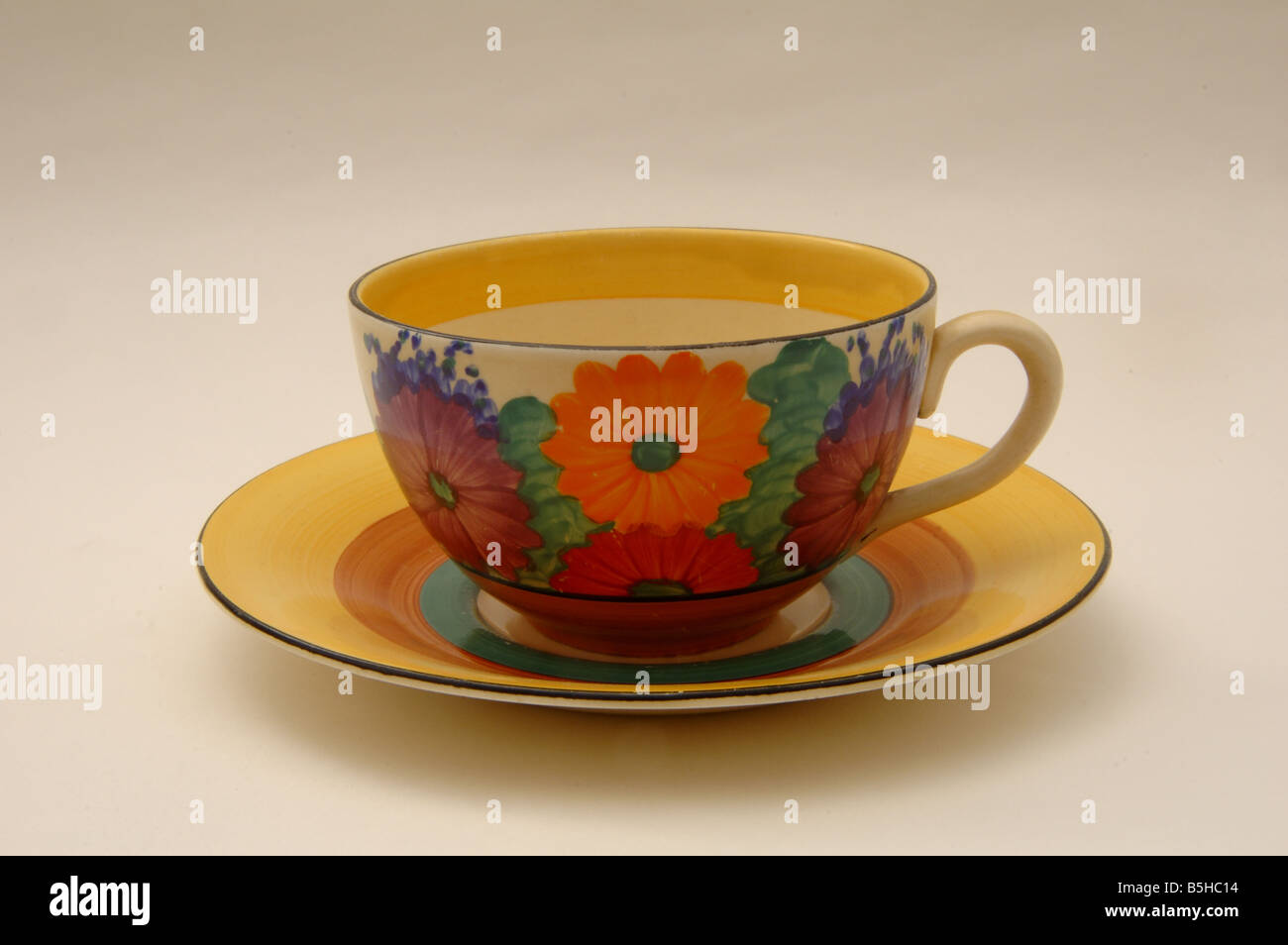 Clarice Cliff cup and saucer - Stock Image