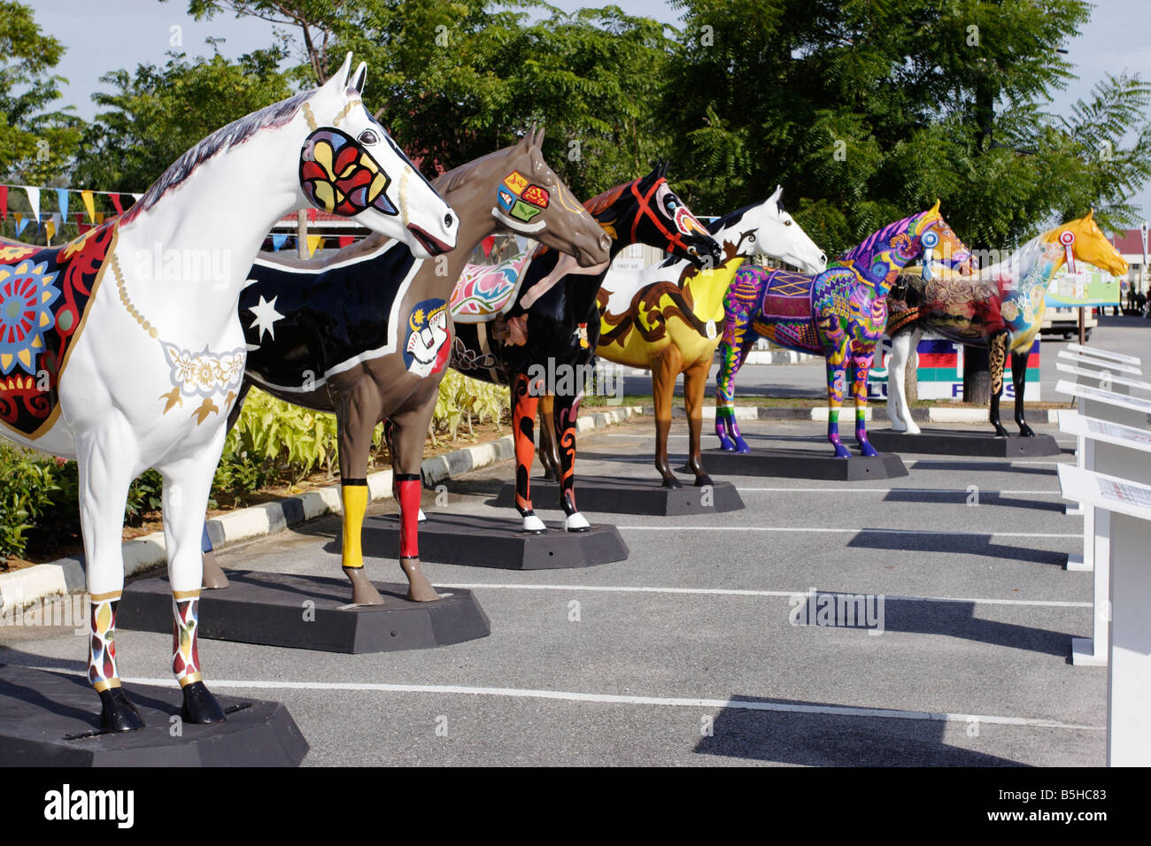 Beautifully painted horse statue in Terengganu, Malaysia. - Stock Image