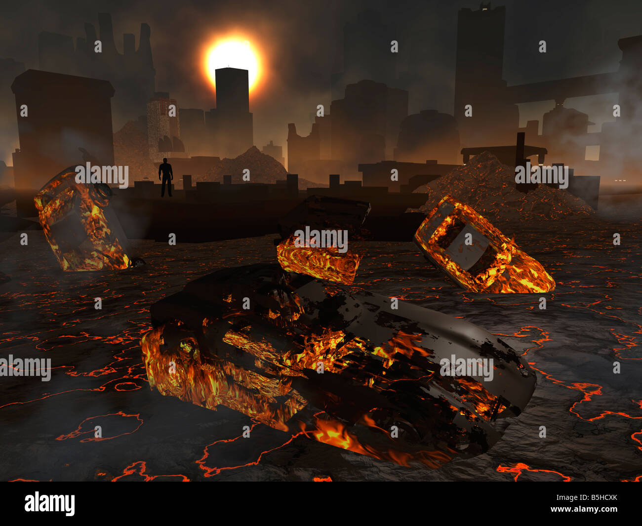 The End Of Days A City Destroyed By A Natural Disaster Or By A Nuclear Attack Either Terrorist Or Foreign Power - Stock Image