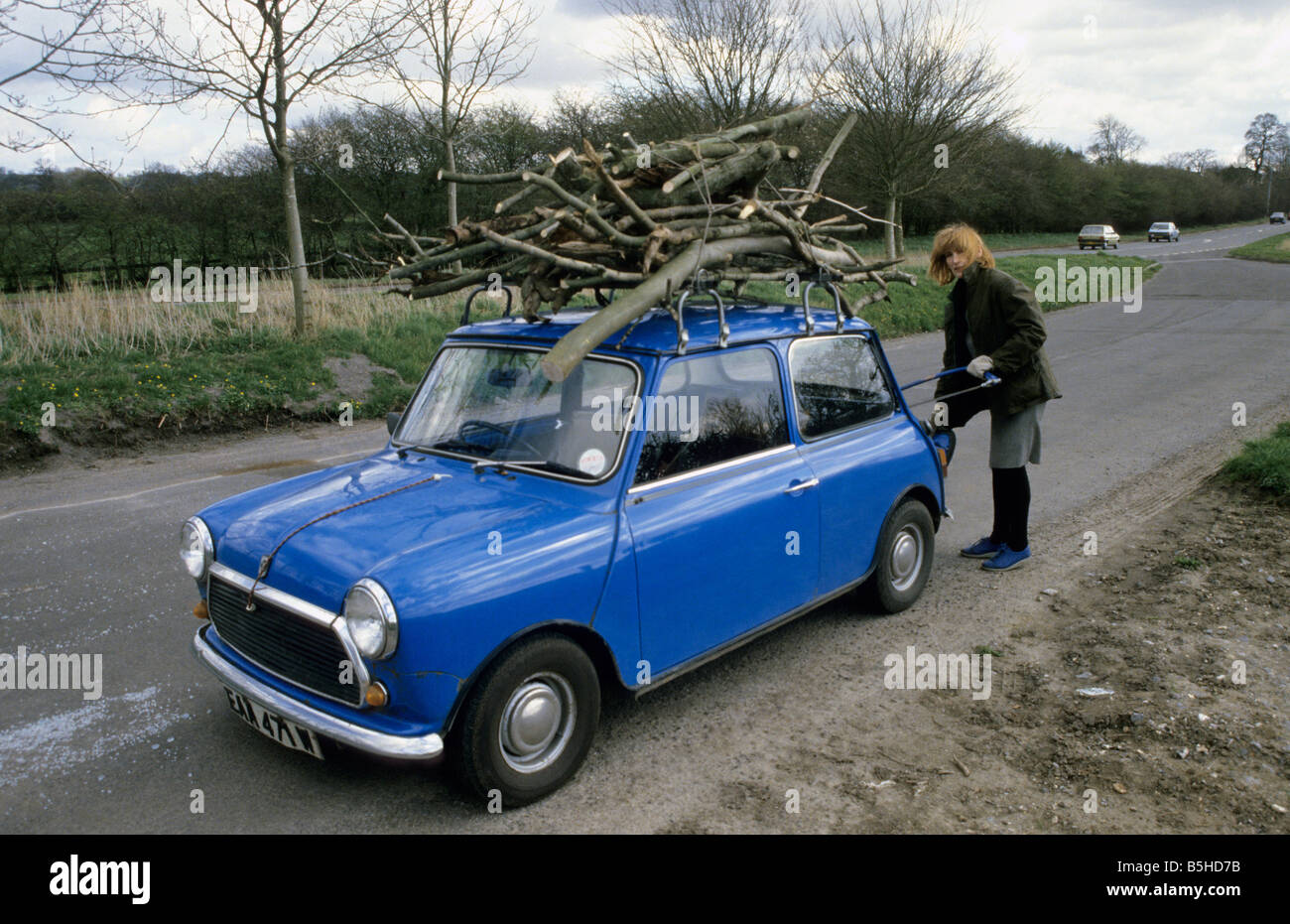 Woman Collecting Wood For Log Fire On Mini Car Roof Rack Uk Stock
