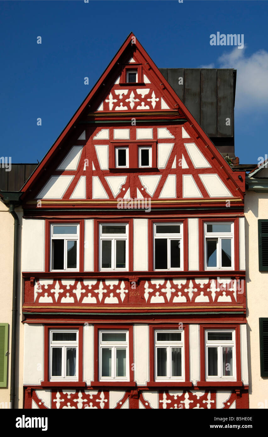 Half timbered building at the market square Oehringen Baden Wuerttemberg Germany - Stock Image