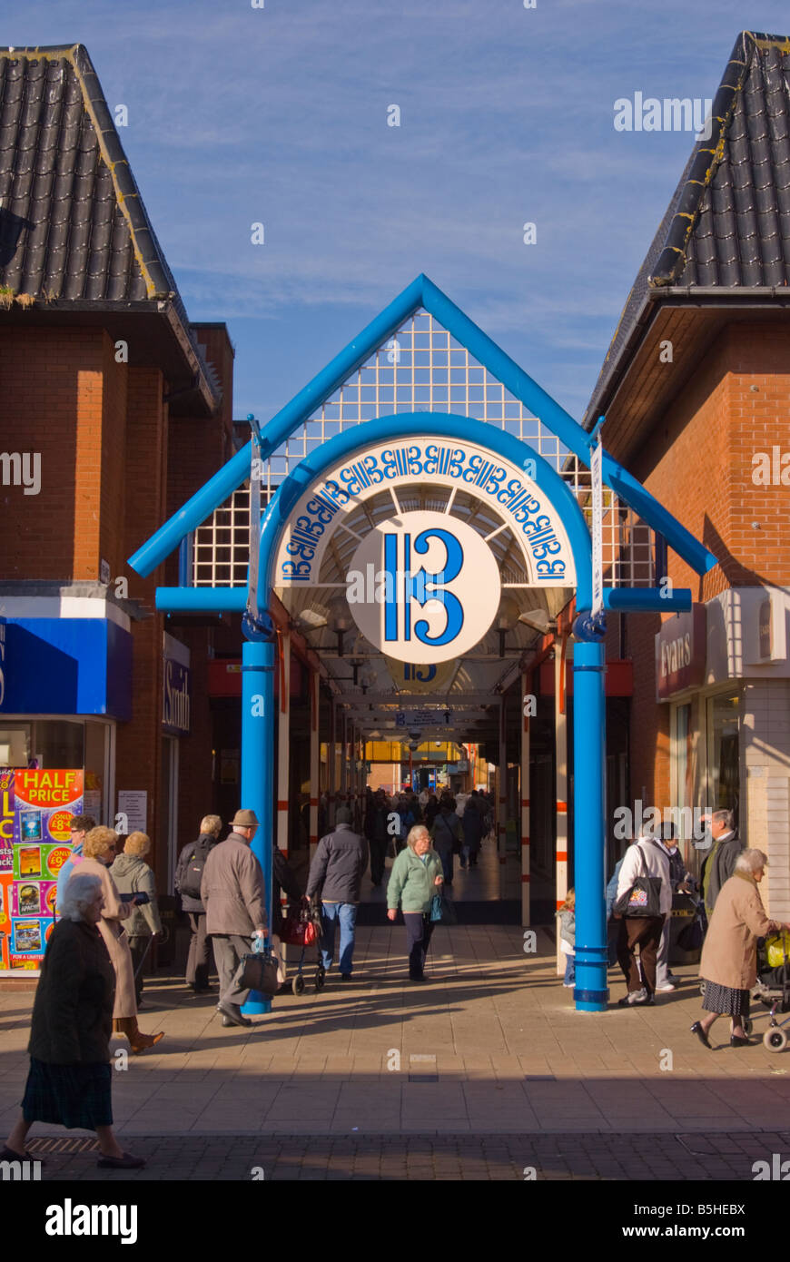Entrance from the high street to the Britten Centre shopping precinct in Lowestoft Suffolk Uk - Stock Image