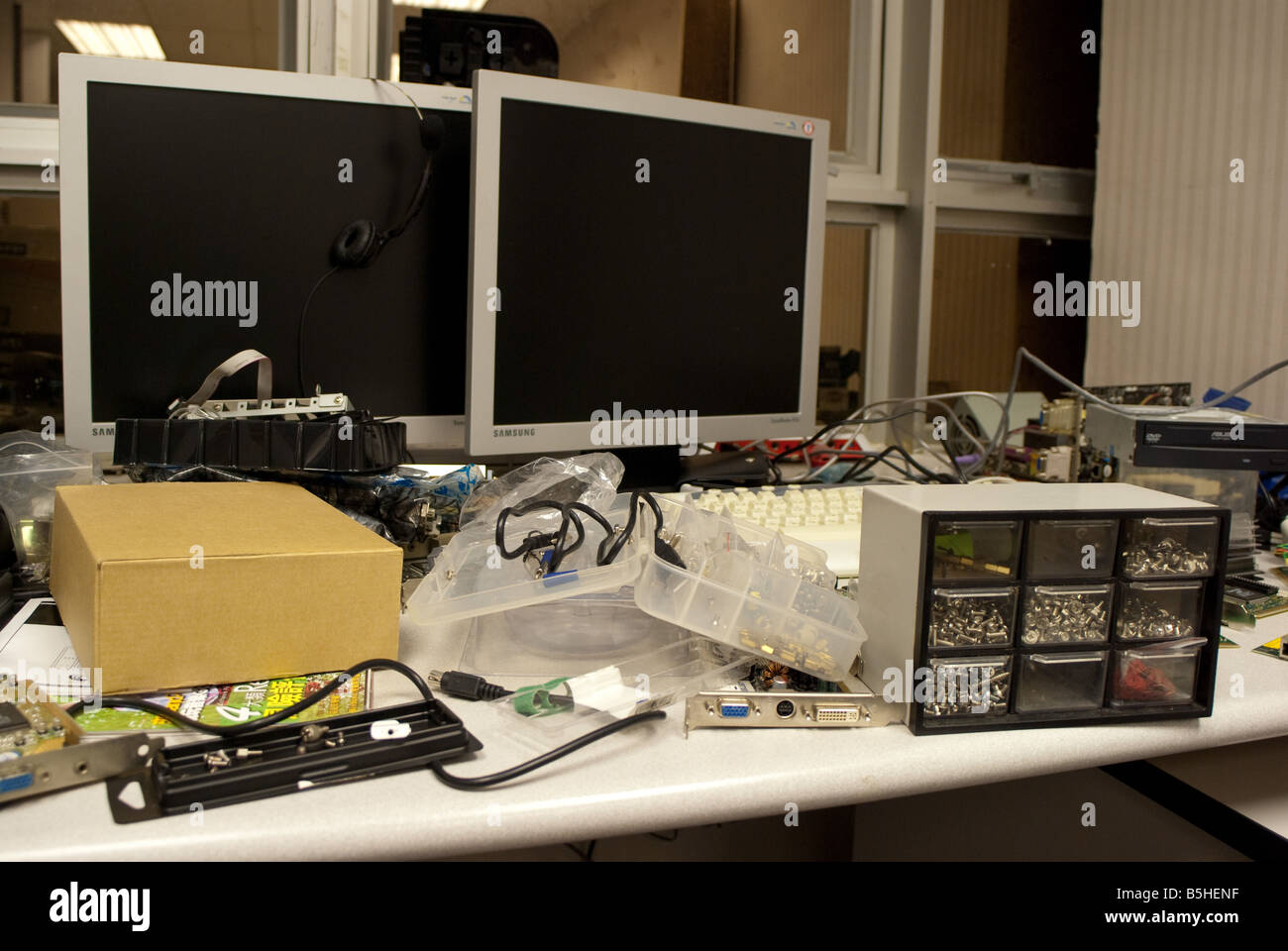 IT Computer Mess - Stock Image