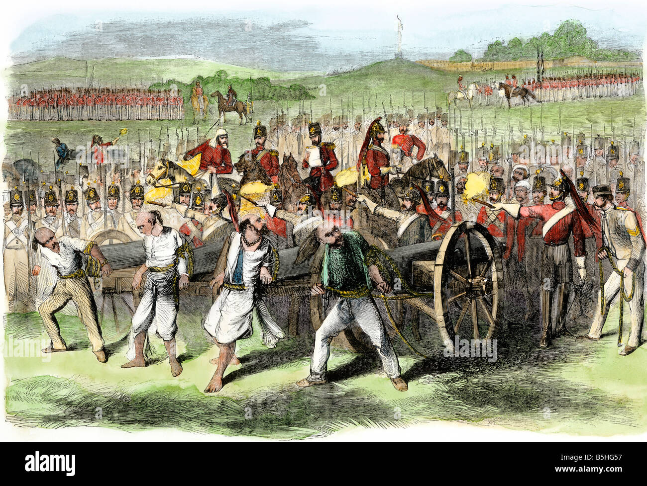 British military executing Sepoys by tying them to cannons during the rebeliion in India 1857. Hand-colored woodcut Stock Photo
