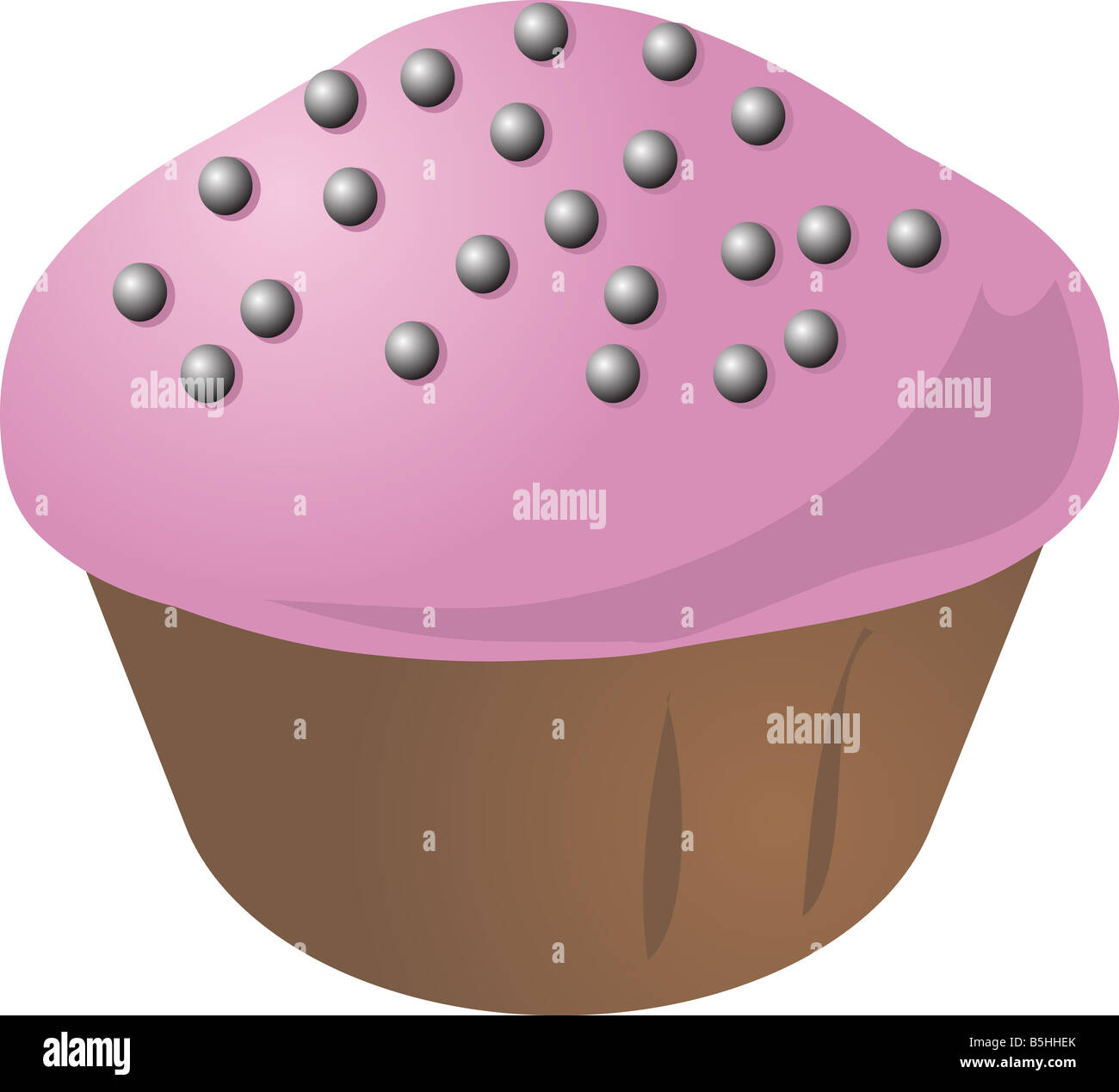 Cupcake with pink icing and silver decoration sprinkles - Stock Image