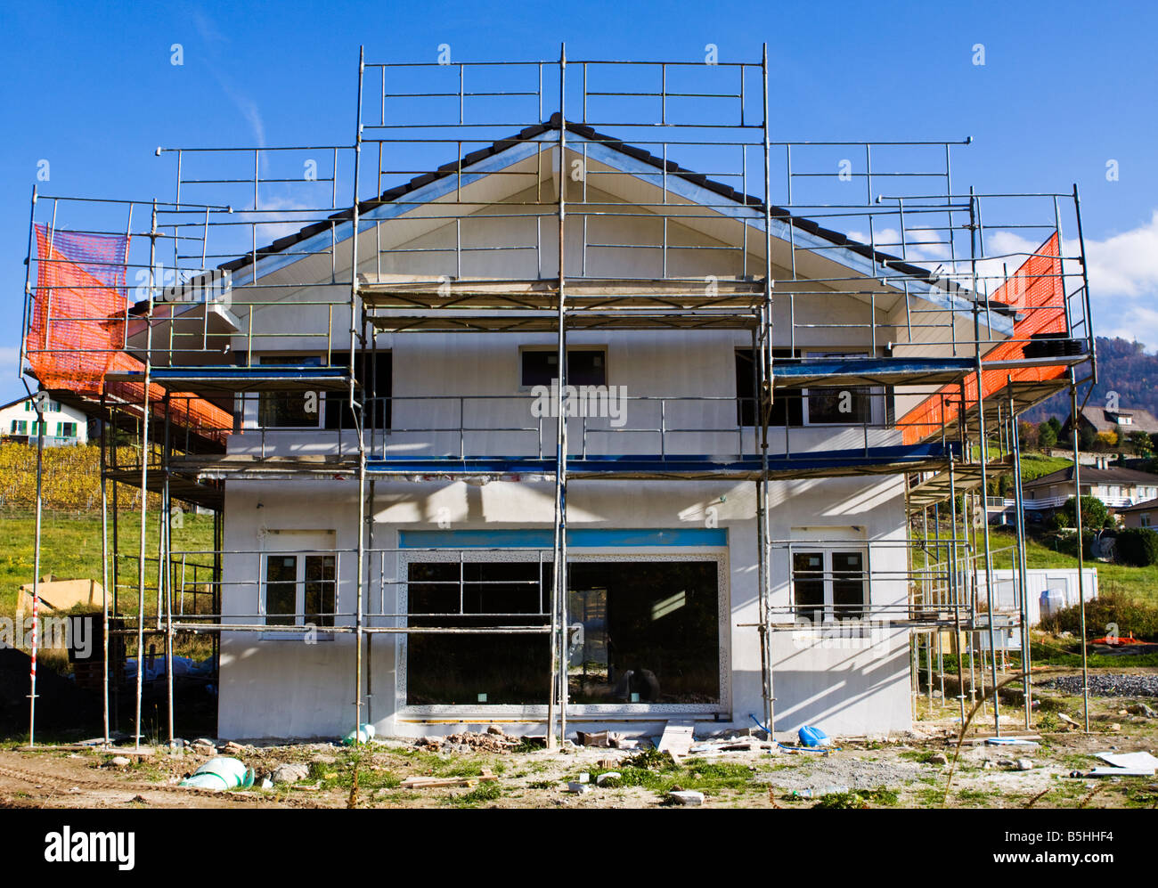 A Small House under Construction in Switzerland Stock Photo
