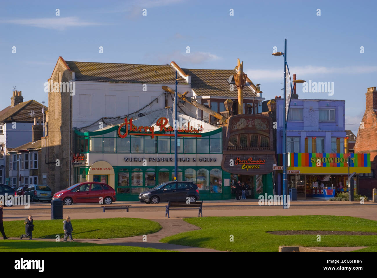 Harry Ramsden's world famous fish and chips restaurant along the seafront promenade in Great Yarmouth Norfolk Uk Stock Photo