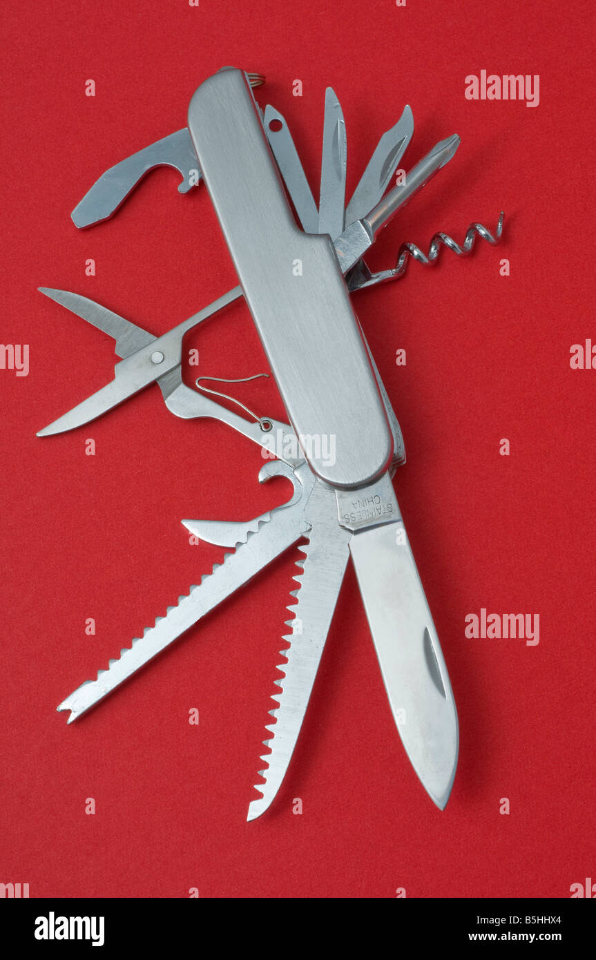 Chinese copy of a Swiss Army knife - Stock Image