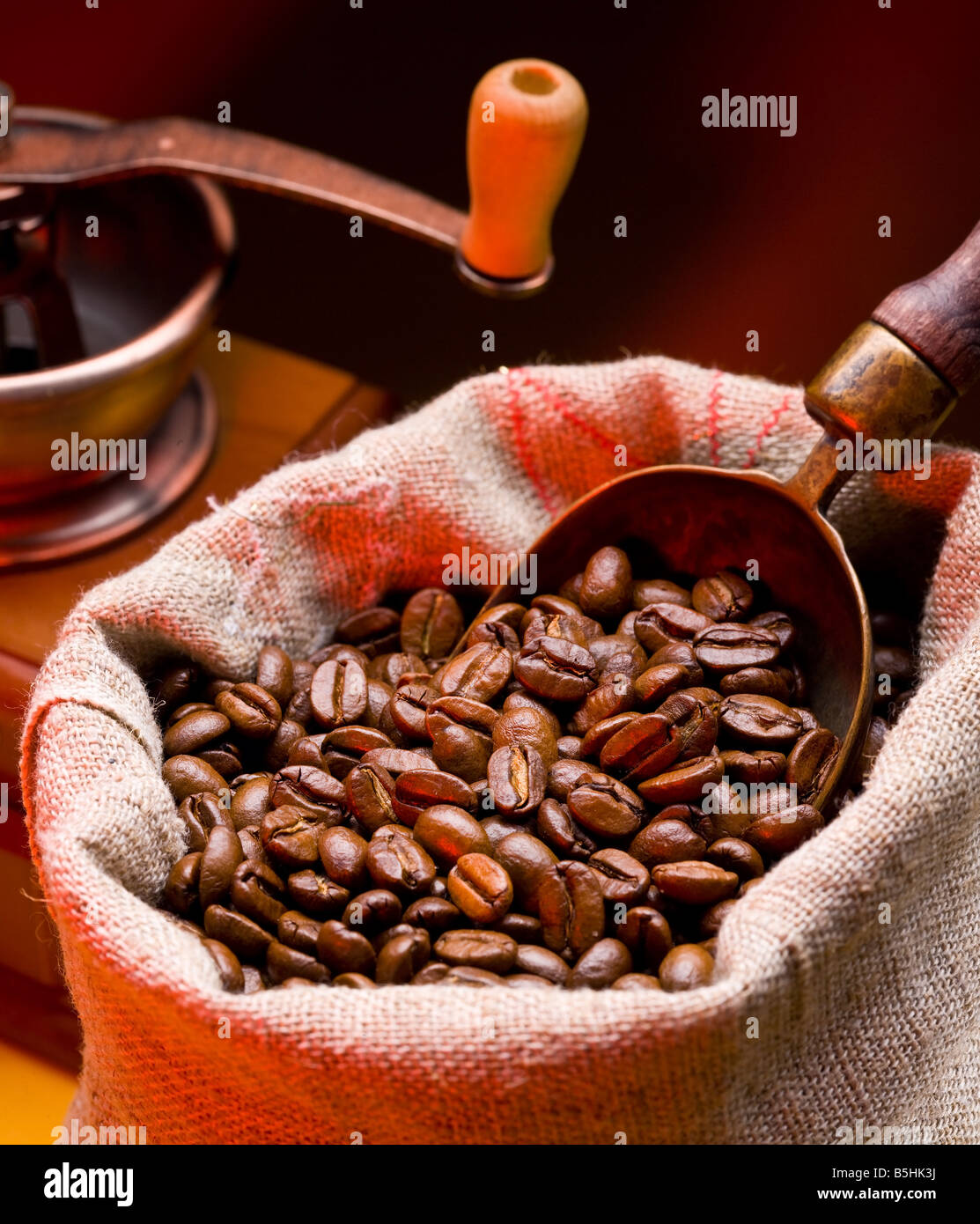 coffee is in a sack - Stock Image