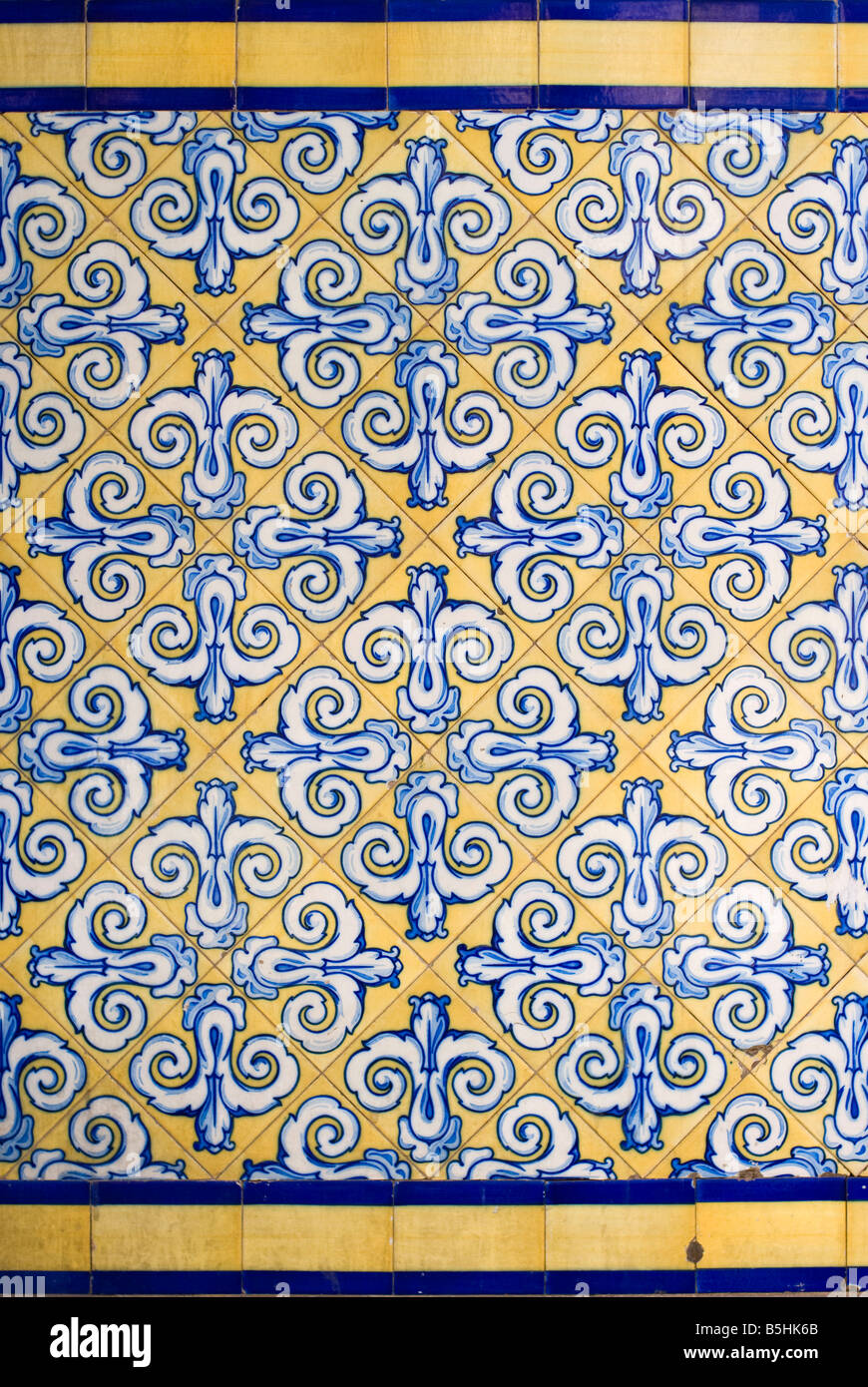 Detail of hand painted tiles or Azulejos on the central market Mercado Central in the historical city centre of - Stock Image