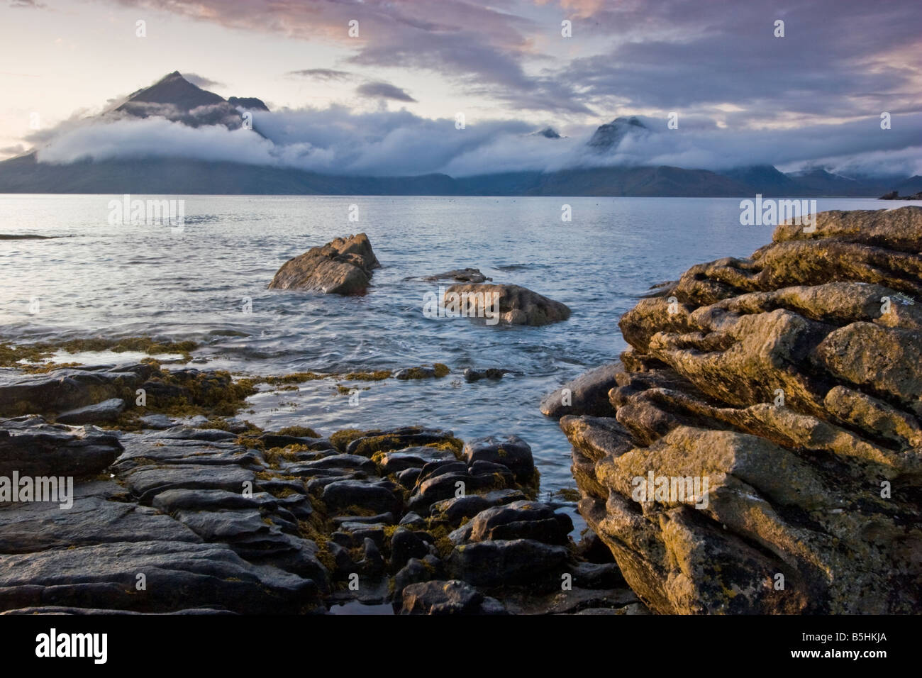 Elgol is a small village on the West coast of Skye, with stunnig views over to the Black Cuillin mountains. Stock Photo