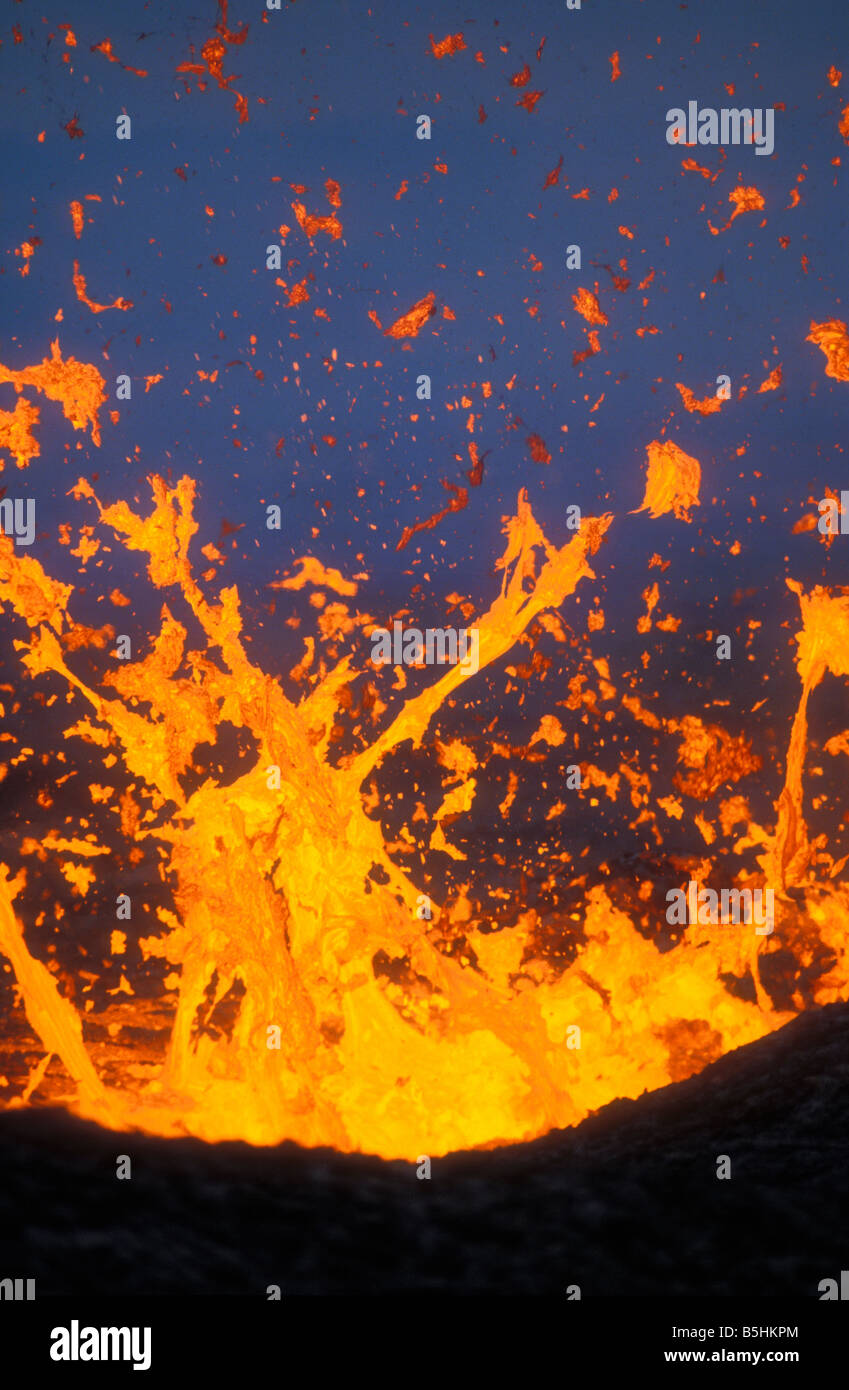 Fountaining lava from Kilauea east rift zone eruption near Puu Oo vent Hawaii Volcanoes National Park Island of - Stock Image