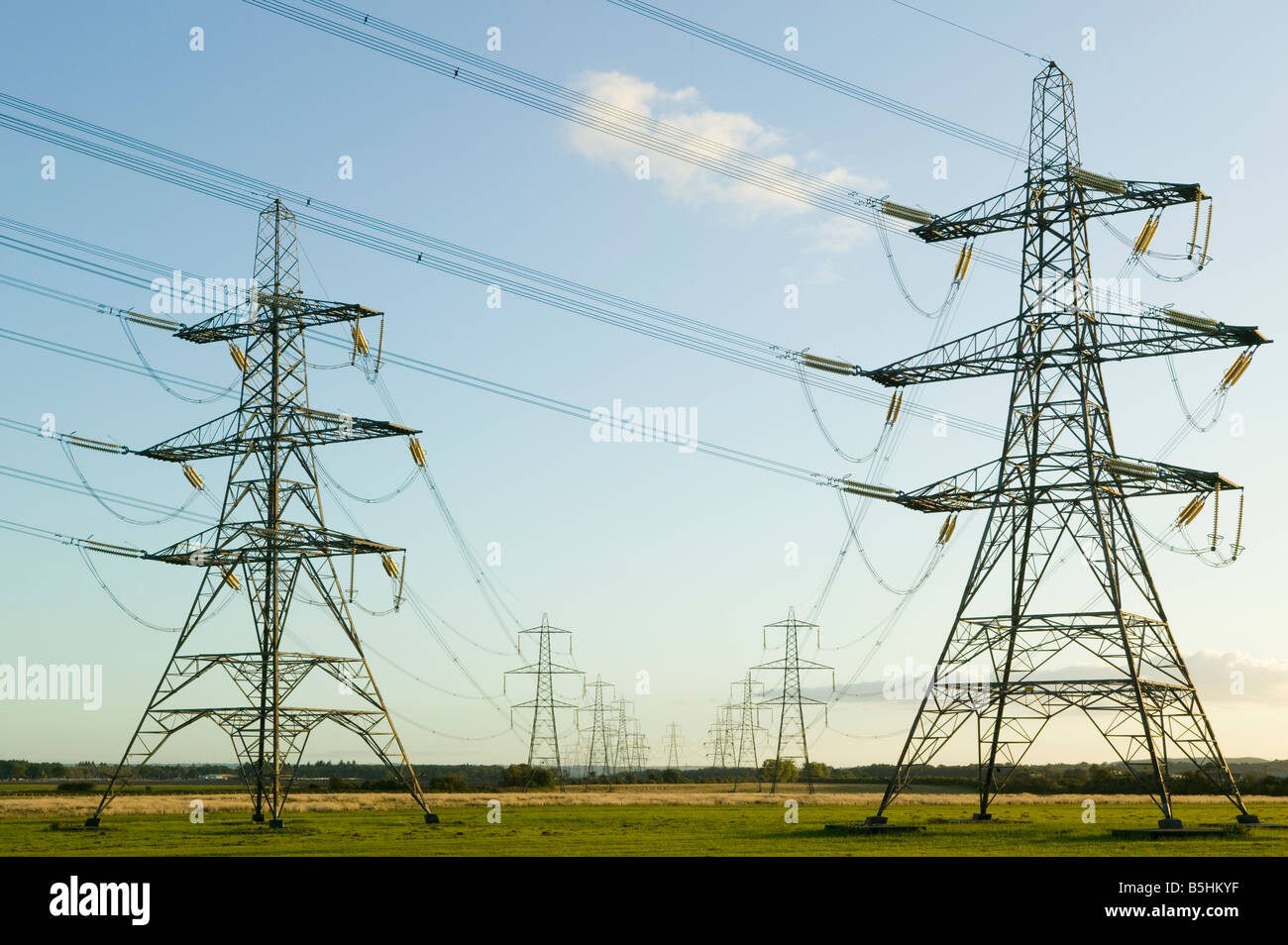 Electricity pylons Scotland UK - Stock Image