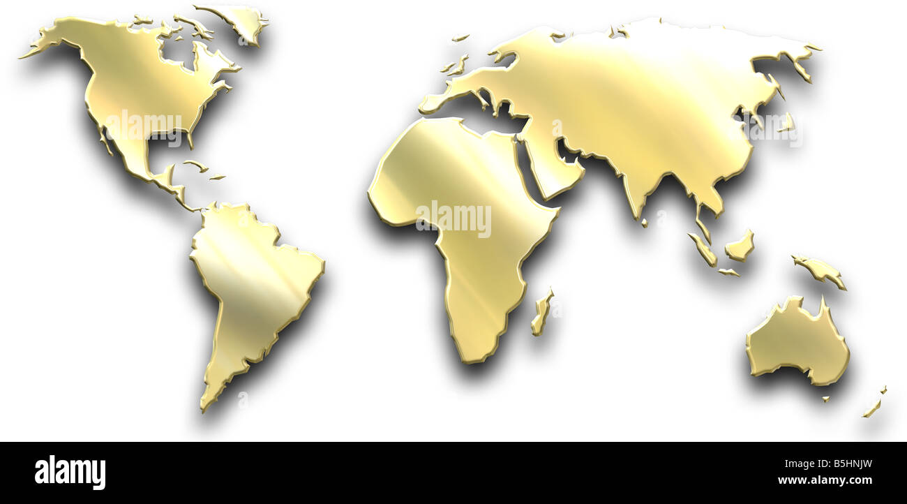 a map of the world isolated on white - Stock Image
