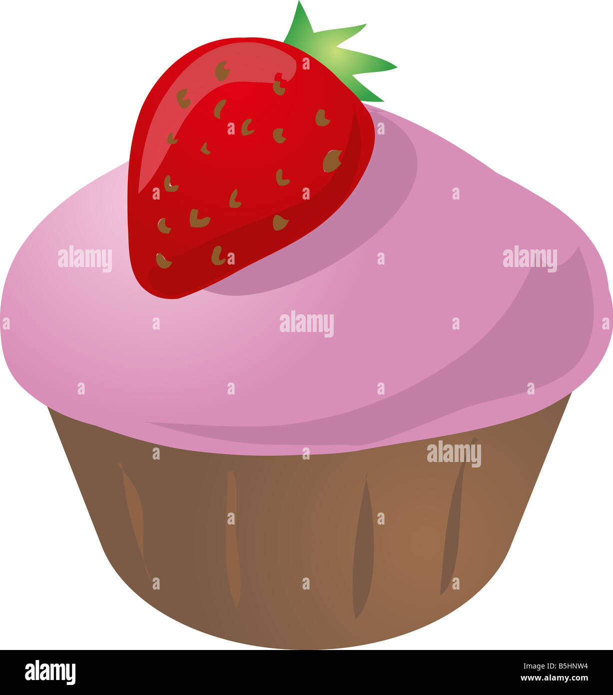 Muffin cupcake with strawberry on top illustration - Stock Image