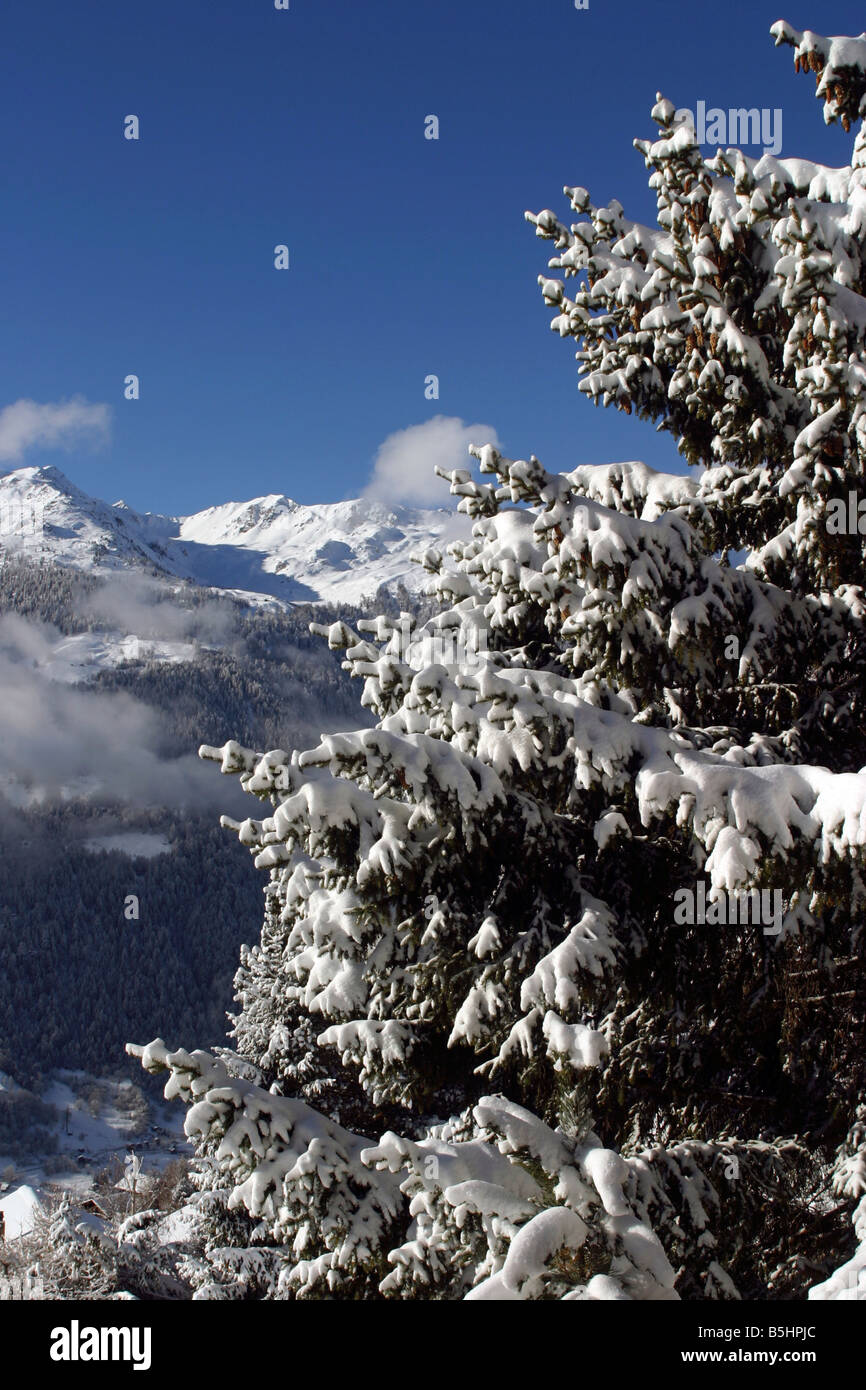 switzerland valais val d'anniviers st luc view from the village after a heavy snowfall Stock Photo