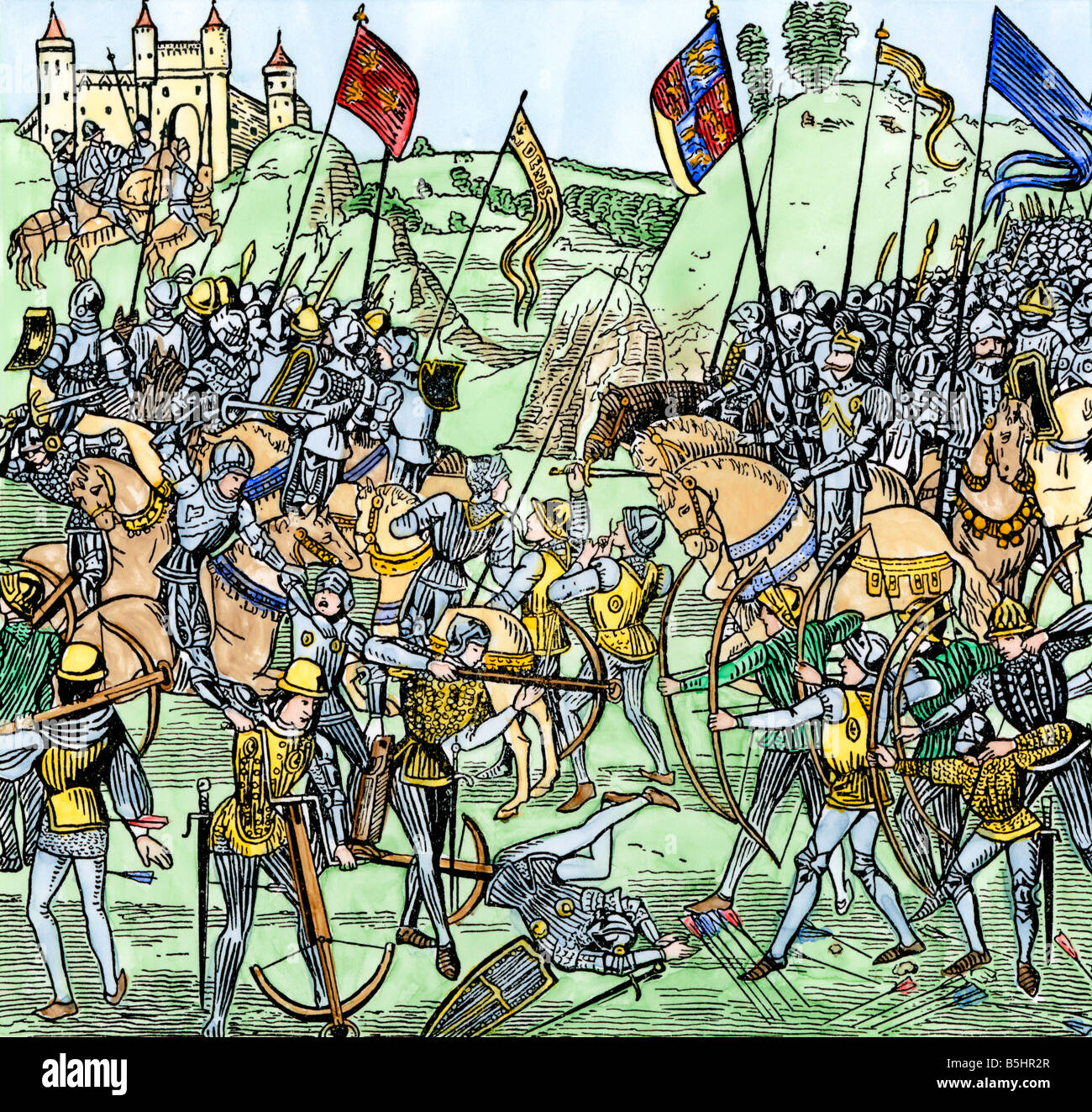 Archers and knights at the Battle of Crecy France during the Hundred Years War 1346. Hand-colored woodcut - Stock Image