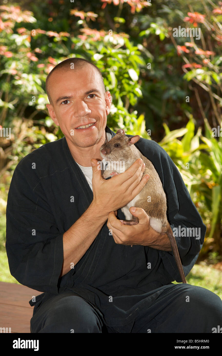 Bart Weetjens, Belgian founder of the APOPO organisation which trains rats for various humanitarian purposes. - Stock Image