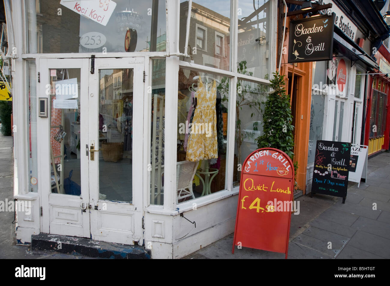 The Garden and Grill restaurant 253a Portobello Road Notting Hill London W11 1LR - Stock Image