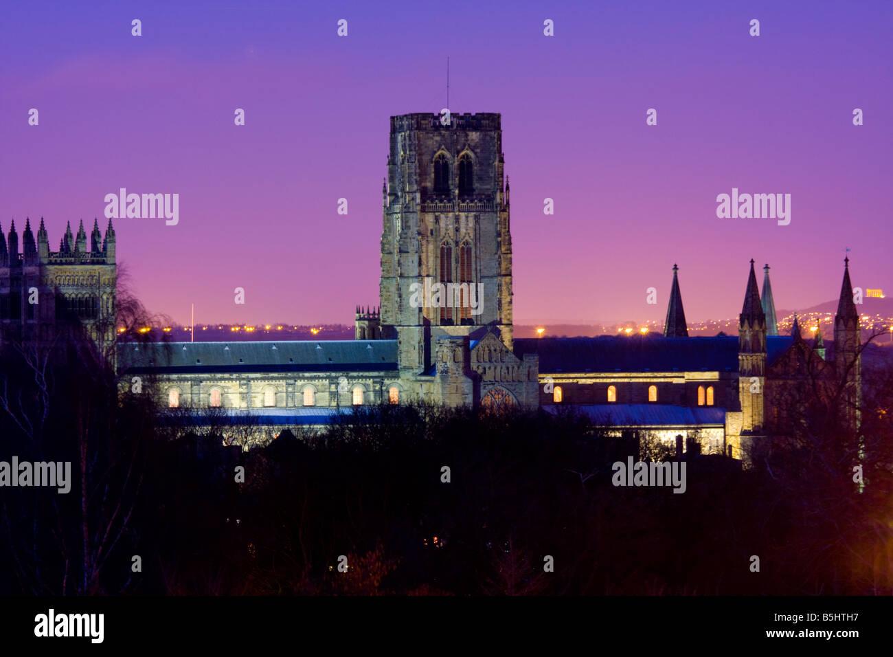 Durham Cathedral at Dusk UK - Stock Image