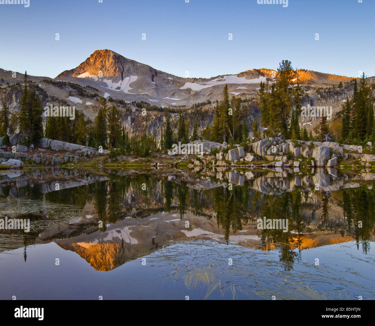 Eagle Cap mountain from Sunshine Lake Eagle Cap Wilderness Wallowa Mountains northeastern Oregon - Stock Image