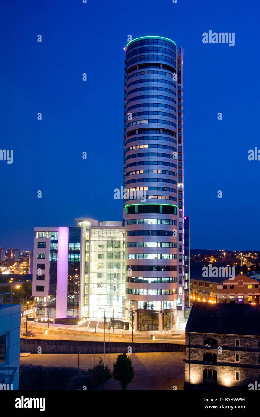 Bridgewater Place Leeds UK at dusk - Stock Image