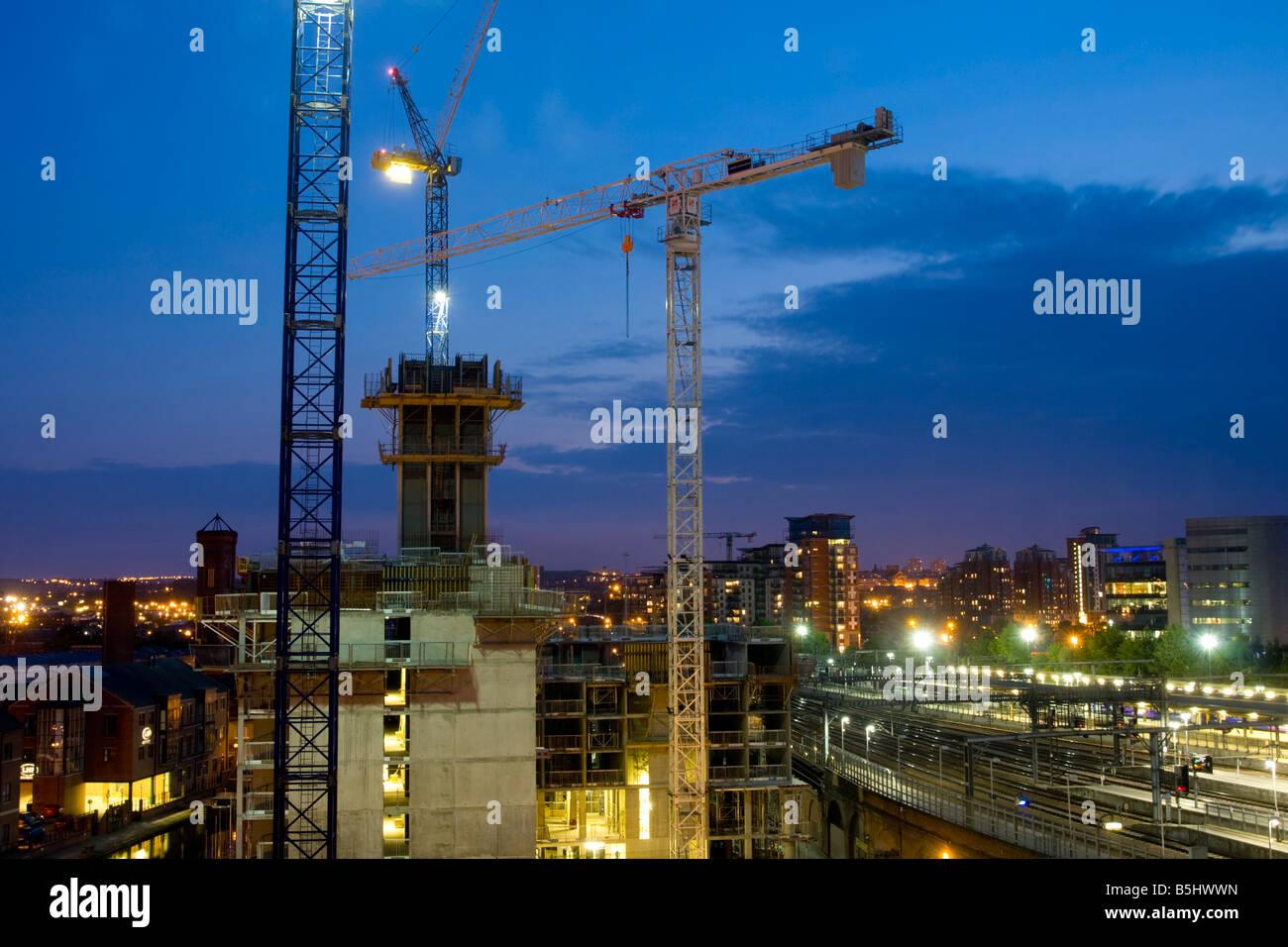 Building work and Leeds train station at dusk UK - Stock Image