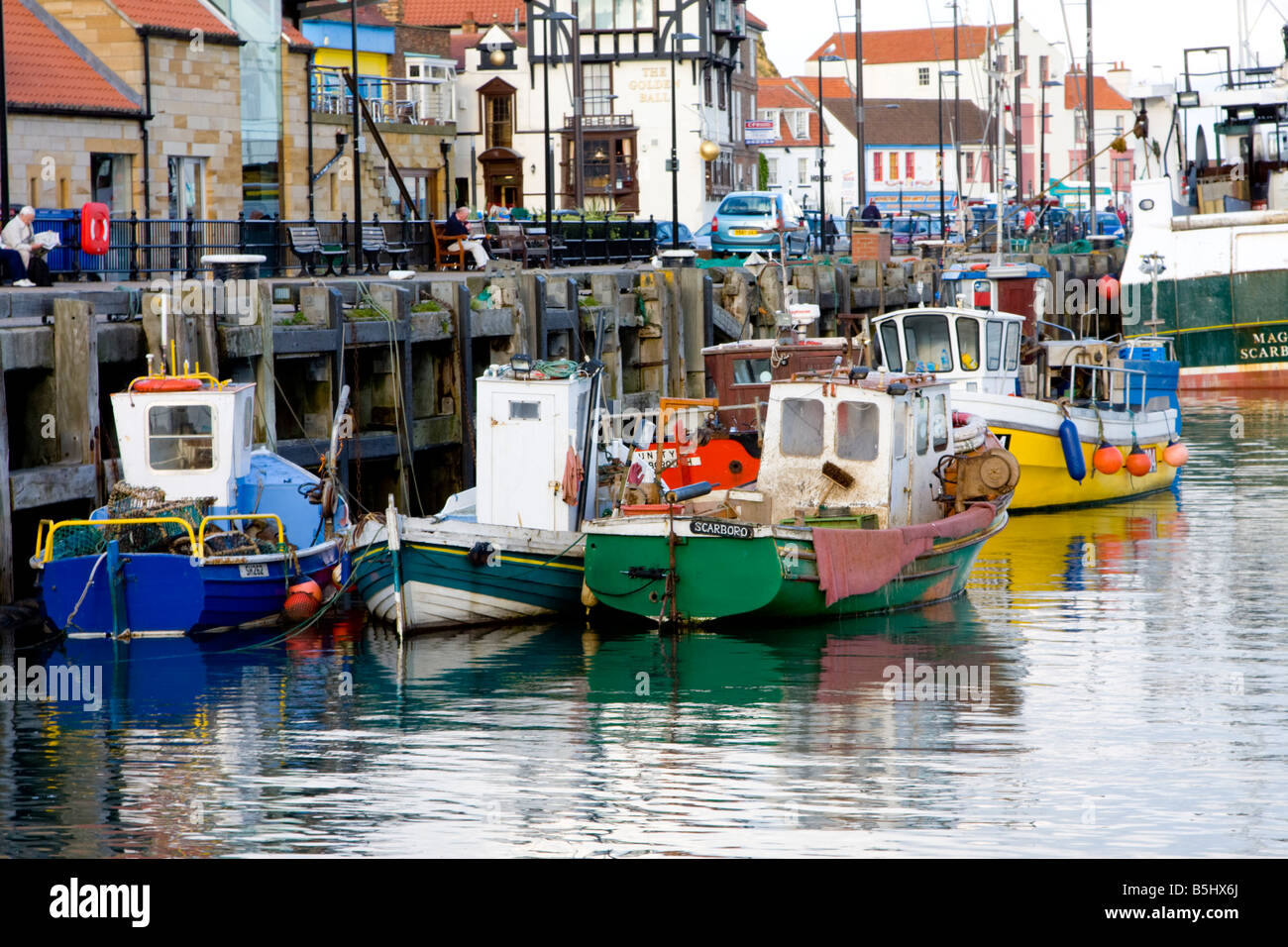 Fishing boats in the harbour Scarborough UK - Stock Image